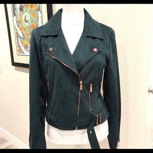 Suede green moto jacket